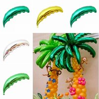 10pcs 36inch Length Tropical Palm Tree Leaf Hawaiian Dark Gr...