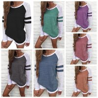 Women Striped Splicing Baseball Tshirt Spring Fashion O Neck...