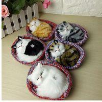 Nuovo design Kawaii Simulazione Sounding Sleeping Cats Peluche con Nest Regalo di Natale preferito dai bambini