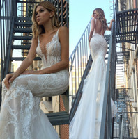 2018 Modern Pallas Couture Mermaid Wedding Dresses Plunging ...