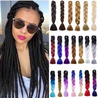 Оптовая цена 24 дюйма синтетические высокотемпературные волокна омбре канекалон плетение наращивание волос 100 г / шт Jumbo косы волос