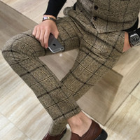 Winter Thick Suit Pants Men Slim Fit Fashion Plaid Dress Pan...