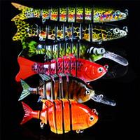 뜨거운 무 스키 Swimbaits Mutil 관절 크랭크 베이트 6 크기 3D 눈을 설정 현실적인 컬러 스플릿 테일 낚시 세그먼트 미끼 물고기 미끼