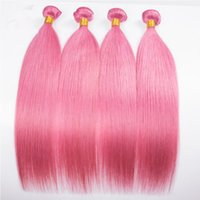 Di buona qualità colore rosa brasiliano capelli lisci di seta bundles 4 pezzi non trattati di colore rosa estensioni di trama dei capelli umani 4 bundles per donna
