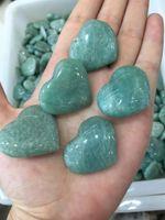Livraison gratuite en gros 5 pcs bleu amazonite pierre coeur cristal coeur fabrication de bijoux coeur amazonite retour de mariage cadeau cristal guérison