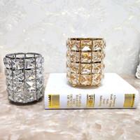 Bougeoir Cristal Chandelier Géométrique Table En Forme De Coupe Stylo Maquillage Porte-balais Pour Le Dîner De Mariage Décoration de La Maison