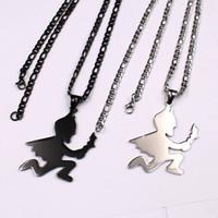Cadeaux de Noël cadeaux collier en acier inoxydable argent Batman Hatchet homme noir / chaîne NK chaîne 4mm 24 '' pour Mens HIp-hop
