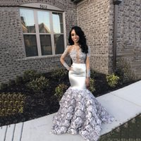 Sexy Evening Dresses Jewel Sheer Neck Long Illusion Sleeves Mermaid Prom Gowns With Lace Applique Custom Made Formal Party Gowns New Style