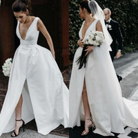 Deep V Neck Satin Wedding Dresses Cheap Long Split Front Bac...
