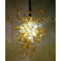 Modern Altın Çiçek Şekli El Üflemeli Murano Cam Avizeler Lamba Çağdaş Tavan Işıkları Stil Avize Işık Fikstürü