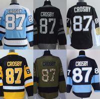 # 87 Sidney Crosby grigio blu verde nero giallo bianco Maglie di hockey su ghiaccio da uomo di fabbrica di alta qualità spedizione gratuita