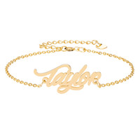 """Acier inoxydable Gravure Nom de Script """"Taylor"""" Bracelets à breloques pour femmes personnalisé Bracelet personnalisé Lien Lien cadeau de Noël"""