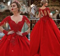 Designer Long Red Dresses Evening Wear A Line V Neck Long Illusion Sleeves Illusion Back Beaded Formal Prom Dress Party Gowns