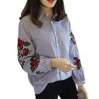 Fashion Women Floral Embroidery Blouse Lantern Long Sleeve C...