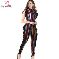 Sexy Stripe Printed Colorful Rompers Womens Bodycon Jumpsuit...