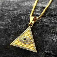 Gold Plated Ancient Egyptian Pyramid Eye Of Horus Pendant Necklace Hip Hop Men Women Necklace Chain Birthday Christmas Gift