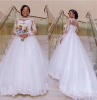 Nigeria taille des robes 2018 Illusion manches longues ligne blanche Tulle dentelle noire africaine filles Appliques de robes de mariée