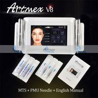 Os mais recentes Intelligent Maquiagem Cosméticos Permanente Máquina Digital Artmex V8 Toque tatuagem Tela System Set Sobrancelha Lip Rotary 2 canetas PMU MTS