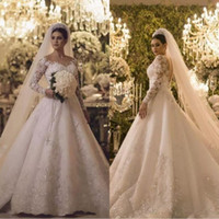 2018 Danymizrachi Gorgeous Long Sleeves Wedding Dresses Sparkly Crystals Beaded A Line Tulle Bridal Gowns Illusion Back Vintage BA9895