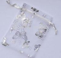 Sac organza papillon gros 7x9 cm Bijoux de mariage Emballage Sacs cadeaux Pochettes Multi Couleurs cadeaux de Noël