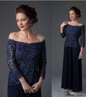 2018 Navy Blue Lace Mutter der Braut Pant Suit Lace Chiffon Schulterfrei Hochzeit Mutter Bräutigam Kleid Langarm Hochzeit Gast Kleider
