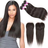 Cheap 8A Straight Bundles With Closure Unprocessed Brazilian...