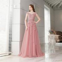 Elegantes vistos formales de la tarde 2018 nuevos tul rosado una línea vestidos de fiesta personalizado de demoiselle d'honneur trenes de barrido Robes de Mariée