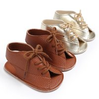 New Fashion Baby Scarpe estive Solid Antiscivolo tie-up cravatta Neonati Primi camminatori Soft Comodo Outdoor Toddlers Bebe Scarpe oro marrone A9506