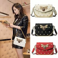 New Women Rhinestone Chain Bag Bee Small Square Bag Pearl De...