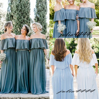 2018 Modest Bridesmaid Dresses A Line Long Teal Blue Chiffon...