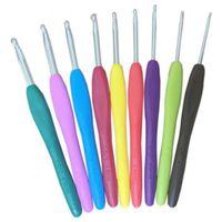 9 piezas Kit de plantilla de ganchillo de gancho de metal mixto Agujas de tejer de aluminio para la herramienta de telar DIY Artesanía