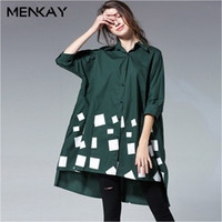 [MENKAY] Bahar Artı Boyutu Kadın Gömlek Bluzlar Üst Uzun Kollu Asimetri Hit Renkler Kadın Gömlek Bluz Elbise Moda Rahat