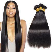 Etero tessuto dei capelli 3 pacchi 20 22 24 pollici non trasformati in offerta neri capelli brasiliani di estensioni naturali a buon mercato brasiliani del Virgin dei capelli Bundles