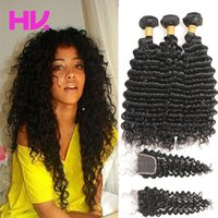 8a indian deep wave Hair With Closure 3 Bundles Unprocessed ...