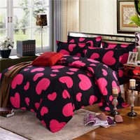 Pink Love Heart Bedding Set Black Duvet Quilt Cover Bed Shee...