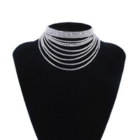 المجوهرات فاسق المختنقون قلادة muiltlayer الراين shinnning فضة neckalce للنساء الأزياء الساخن خالية من الشحن