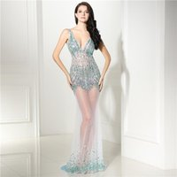 Sexy Deep V Neck Mermaid Evening Dresses Sleeveless Illusion...