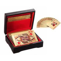 Alta qualidade Certificada Pura 24 K Carat Novidade Folha De Ouro Banhado A Pôquer Cartas de Poker w / 52 Cartões 2 Jokers Presente Jogos de Mesa