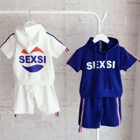 Baby Boy Survêtement enfants Vêtements d'été 2PCS blanc bleu à manches courtes T-shirt Pantalons enfants Costume Casual filles Mode Vêtements