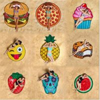Fruit round beach towel cushion, donuts, hamburgers carpet g...