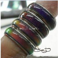 Whloesale 100 pçs / lote Atacado jóias Bulks Mudança Mistura Cor Prata Banhado Humor Anel Temperatura Emoção Sentimento Anéis para Mulheres / Homens