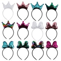 Sequins Crown Bow Shape Hair Sticks Festiva Children Hairhoo...