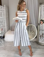 Summer Women Strap Striped Jumpsuit Sleeveless Summer Jumpsu...