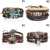 Tribal Blue Evil Eye Handmade Weave Leather Bracelet Multila...