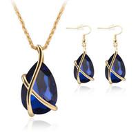 2018 conjuntos de joyas de venta caliente Diamante Cristal Collar de gota Pendientes de jaula de oro Gemelo Partido Colgante Cadenas de joyería de boda Regalo para mujeres