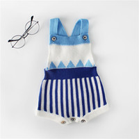 New autumn striped baby infant knitted knit jumpsuit western...