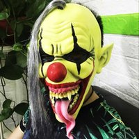 Latex Clown Mask With Wig Long Tongue Horror Green Face Mask...