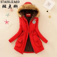 Toptan-STAINLIZARD Modası Kadın Kış Coat Casual Pamuk Kırmızı Kapşonlu Parkas Uzun Kalın Bayanlar Kadın Giyim Sıcak Kadın Ceket CJT142