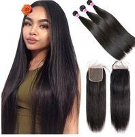 Braziliaans steil haar Weave 3 bundels met sluiting 4 * 4 Natuurlijke kleurenstraal Zwart Menselijk Haar Weave Non Remy Hair Extension