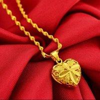 Goldüberzogener reizender Herzanhänger des Großhandels 24k mit 2mm Wellenkettenhalskette für Frauen, freies Verschiffen
